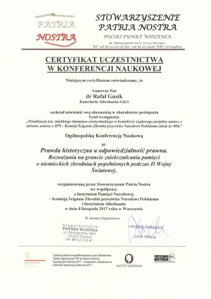 certyfikat-konferencji-adwokat-rafal-guzik-kancelaria-adwokacka-gg-oswiecim